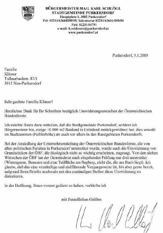 Purkersdorf Bürgermeister Zu Sagbergumwidmung Kommentar
