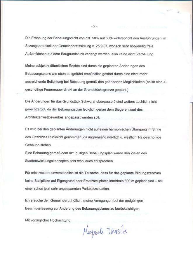 purkersdorf: protokoll gemeinderatssitzung 30.9.2008, Einladung